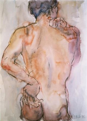 Giclee print of male torso in watercolour