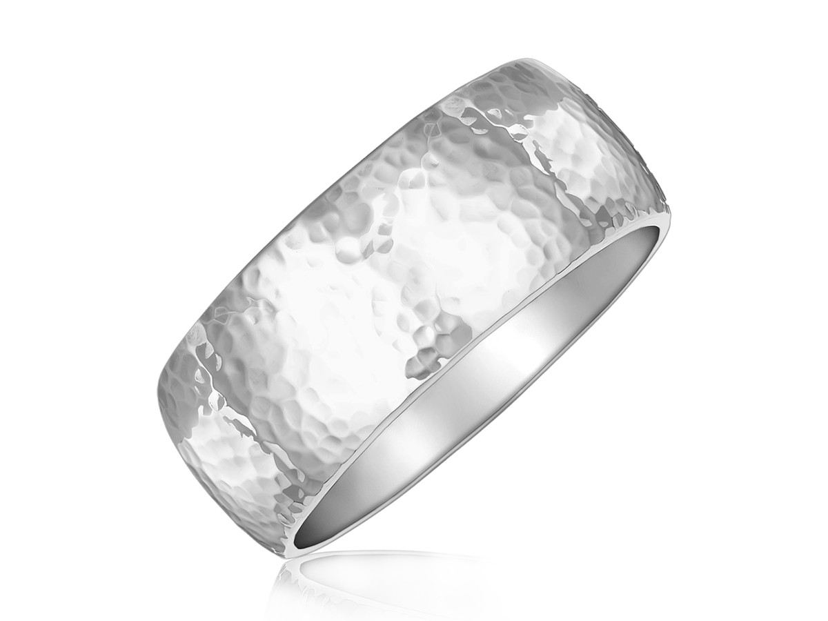 Fancy Hammered Thick 8 12 Slip On Bangle In Rhodium