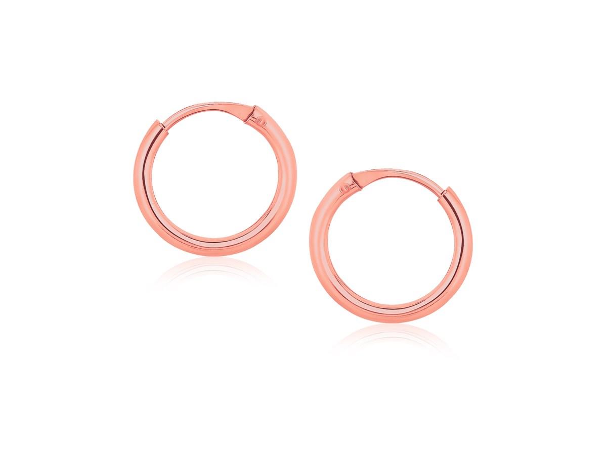 Small Endless Hoop Style Earrings In 14K Rose Gold