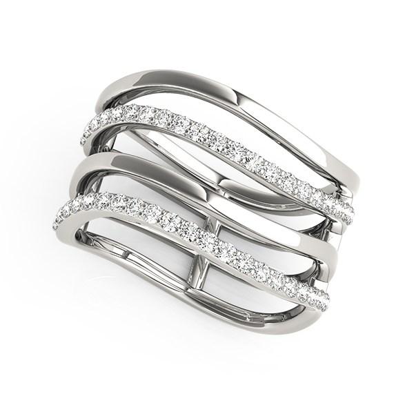 Multi Band Diamond Ring In 14k White Gold 38 Cttw