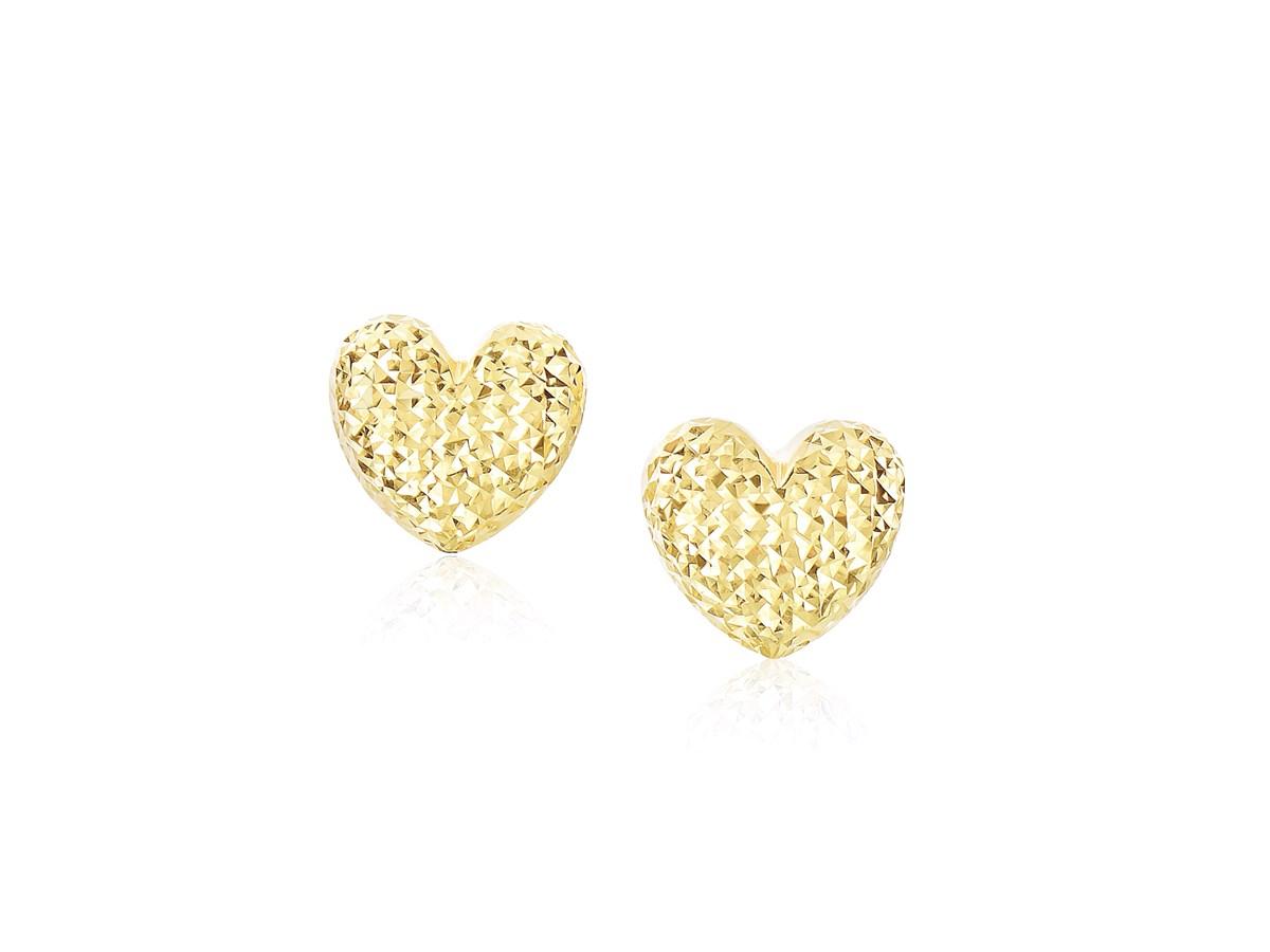 Diamond Cut Puffed Heart Earrings In 14k Yellow Gold