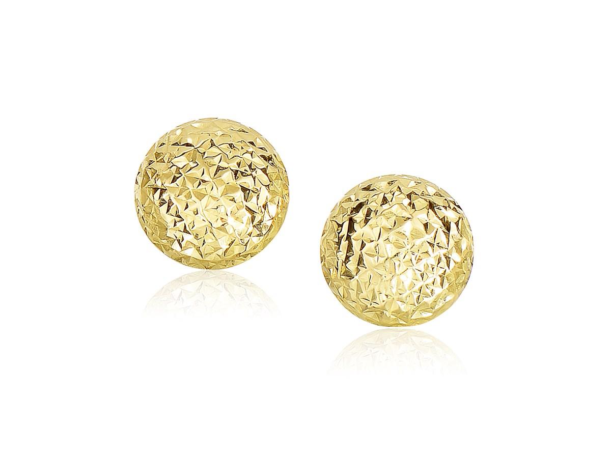 Diamond Cut Puff Round Earrings In 14k Yellow Gold