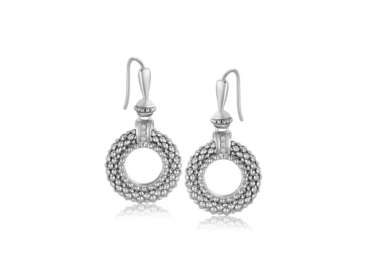 Popcorn Ring Style Diamond Accented Earrings In Sterling