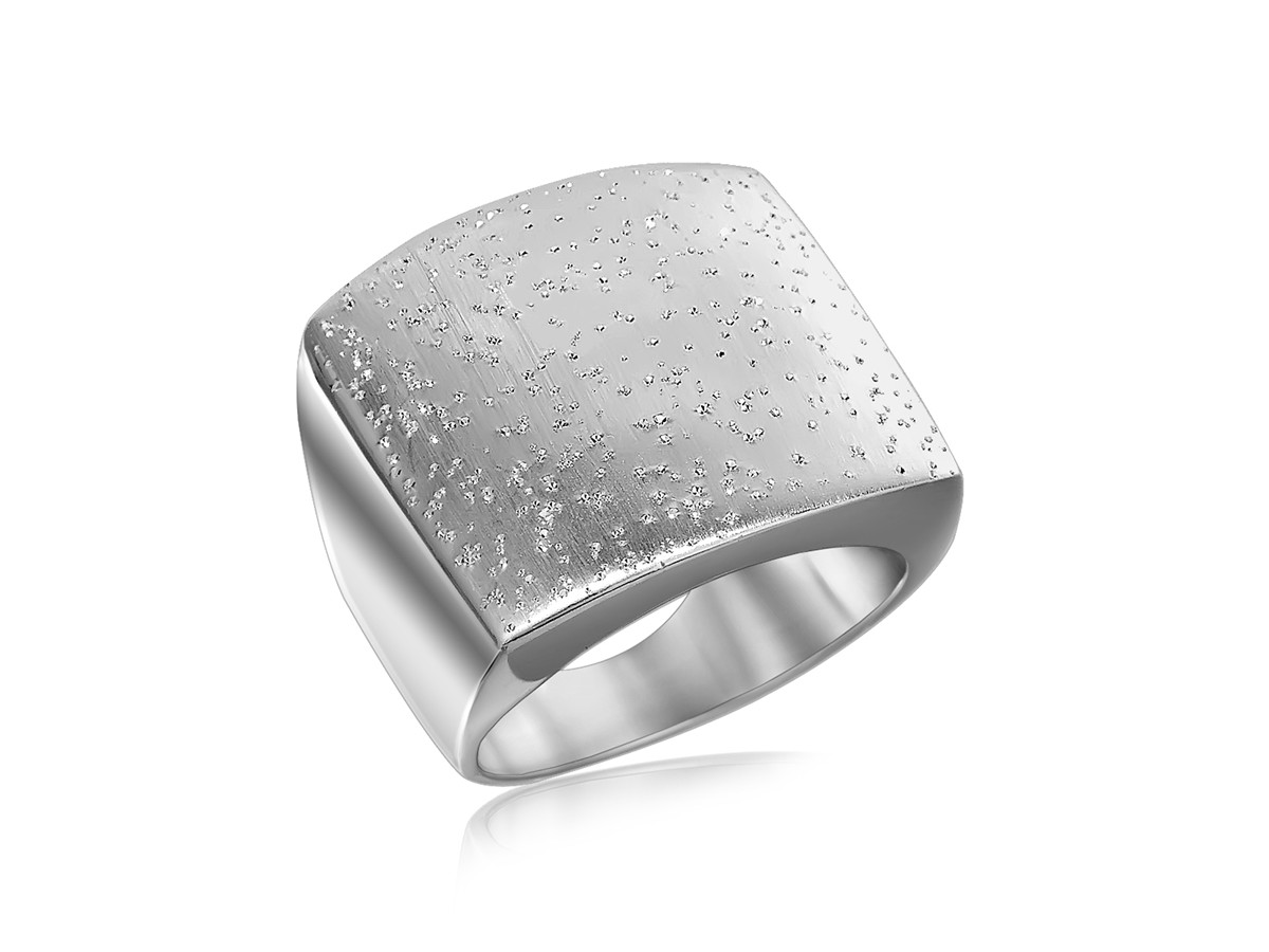 Flat Ring With Texture In Rhodium Plated Sterling Silver