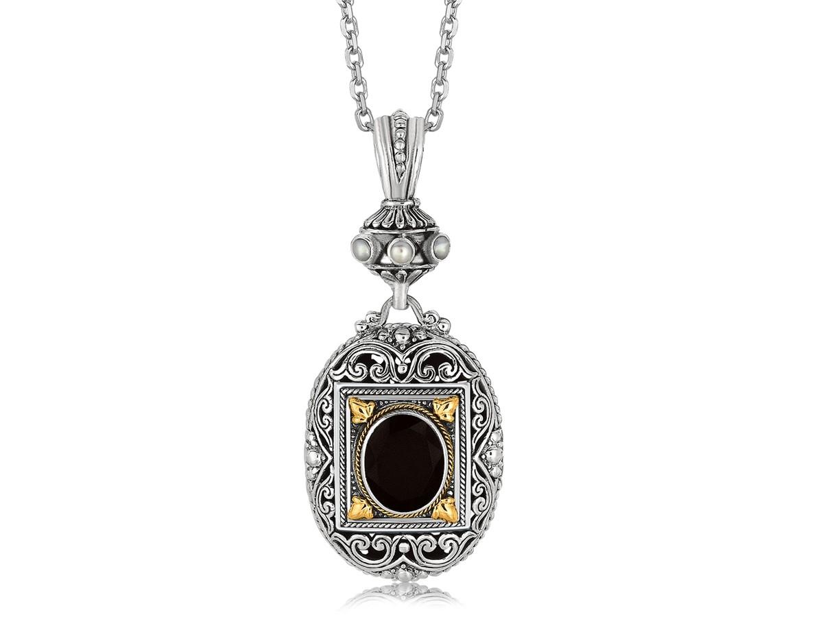 Rectangle Framed And Scrollwork Designed Oval Black Onyx
