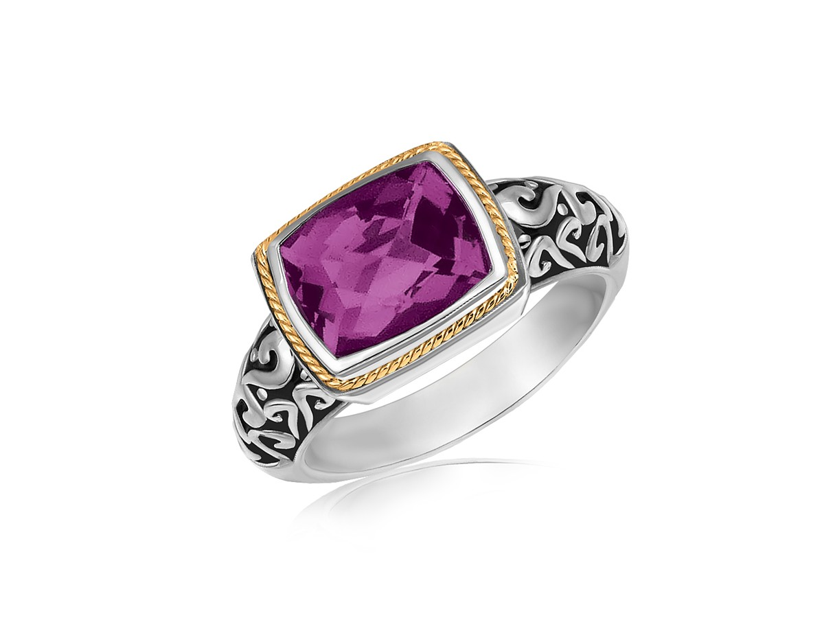 Rectangular Amethyst Ring In 18k Yellow Gold And Sterling