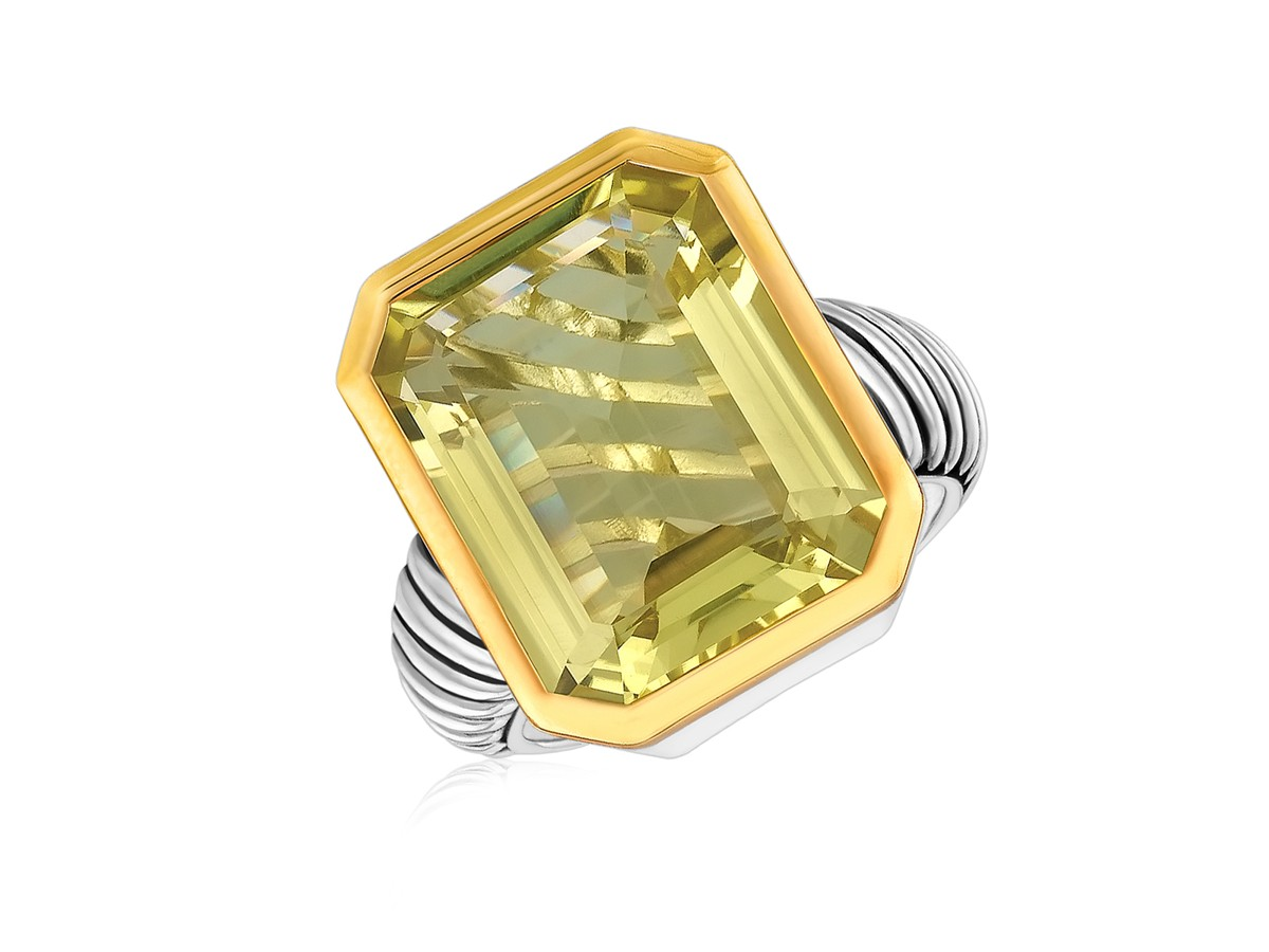 Emerald Cut Lemon Quartz Cable Style Ring In 18K Yellow