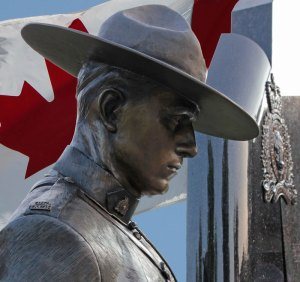 Photograph of RCMP bronze statute - E Division memorial