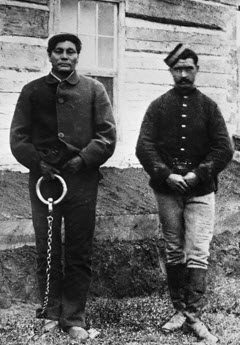 Photograph of Swift Runner and a NWMP member