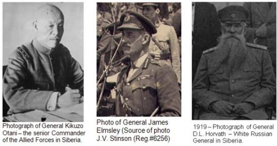 Photographs of the three lead Allied General in Vladivostok Siberia - 1918-1919