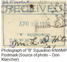 "Photograph of ""B"" Squadron postmark from Vladivostok Siberia - 1919"