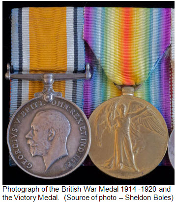 """Photograph of World War I medal issued to all """"B"""" Squadron RNWMP members"""
