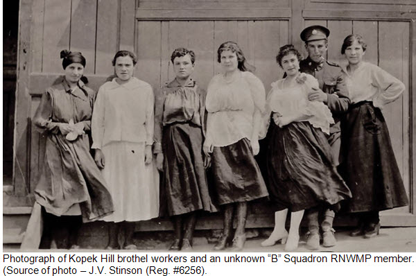 """Photograph of Sex Trade Workers in Vladivstok Siberia with """"B"""" Squadron RNWMP member"""