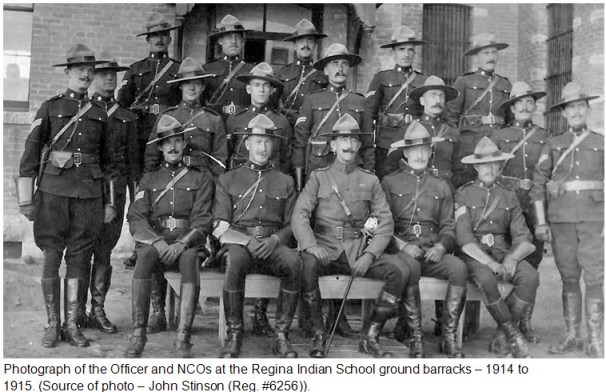 Photograph 1914 of the RNWMP Officer and instructors at the Indian School barracks in Regina