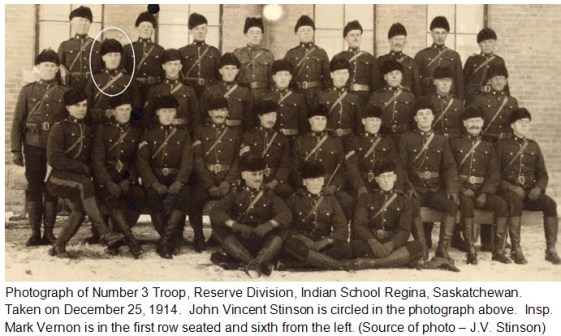 Photograph of Troop #3 1914/1915 (RNWMP) - Indian School barrack