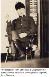 Photograph of John Stinson as a Saskatchewan Provincial Police member