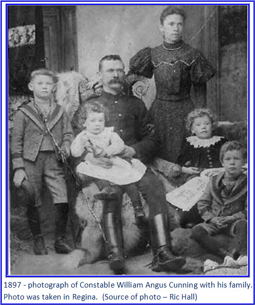 Photograph of William Cunning with his family in 1897 in Regina