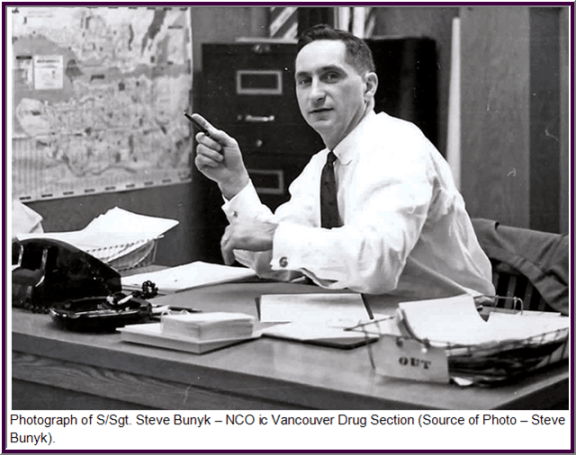Photograph of Steve Bunyk as the NCO ic RCMP Vancouver Drug Section