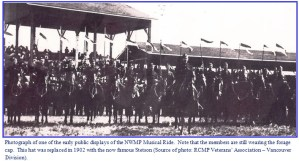 Photograph of one of the first NWMP public displays of horsemenship