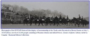 Photograph of RNWMP members performing a Ride demonstration at Vladivostok Siberia in 1919