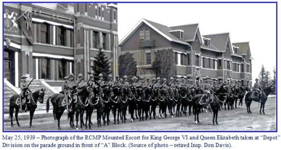 "Photograph of RCMP mounted escort for the King and Queen - ""Depot"" Division - Regina, Sask."