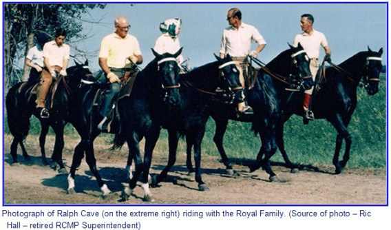 Photograph of RCMP S/Sgt. Ralph Cave riding with the Royal Family