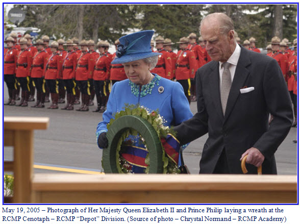 "Photograph of Queen Elizabeth II and Prince Philip laying a wreath at RCMP ""Depot"" Division"