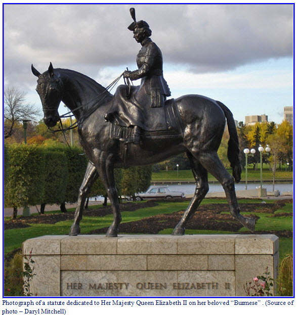 Photograph of Queen Elizabeth II on Burmese statute which sits on the Saskatchewan Legislative ground in Regina.