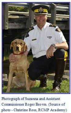 """Photograph of Suzannah with Commanding Officer at RCMP """"Depot"""" Division"""