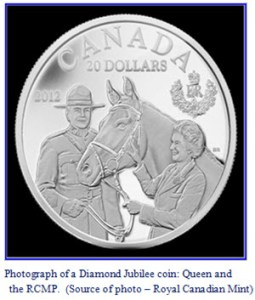 Photograph of a Canadian Diamond Jubilee Coin with the images of Queen Elizabeth II and S/Major Bill Stewart