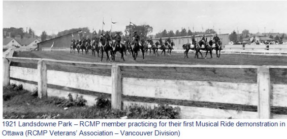 Photograph of RCMP members practicing for their first Musical Ride demonstration in 1921 in Ottawa