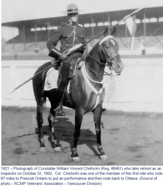 Photograph of RCMP Cst. William Chisholm who participated in the first Musical Ride in Ottawa at the Landsdowne Park