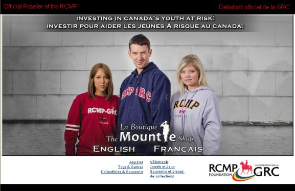 Image of The Mountie Shop website