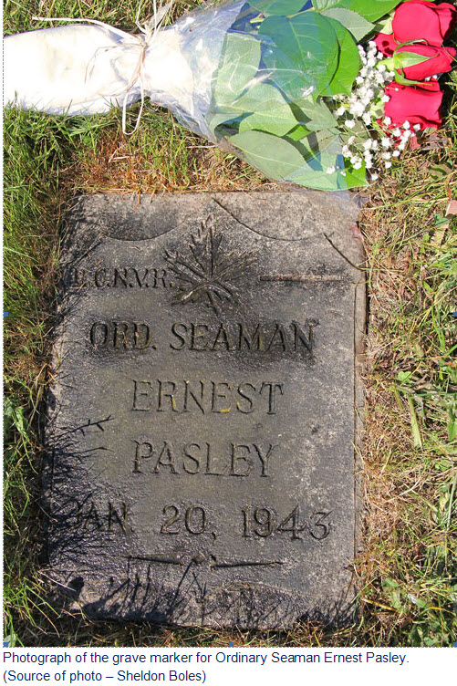 Photograph of Ernest Pasley's grave marker at the Mountainview Cemetery in Vancouver, BC.