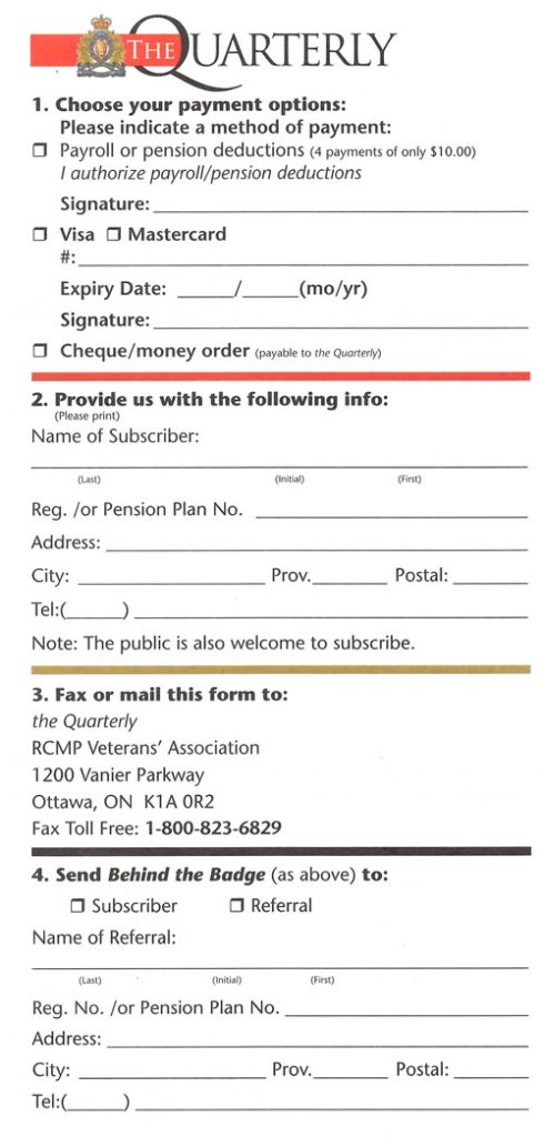 Subscription form for the Quarterly