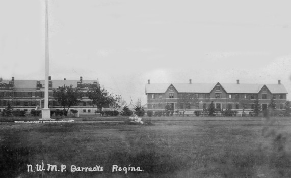 Photograph of RNWMP 'Depot' in 1915.  Building on left is A Block and B Block on right