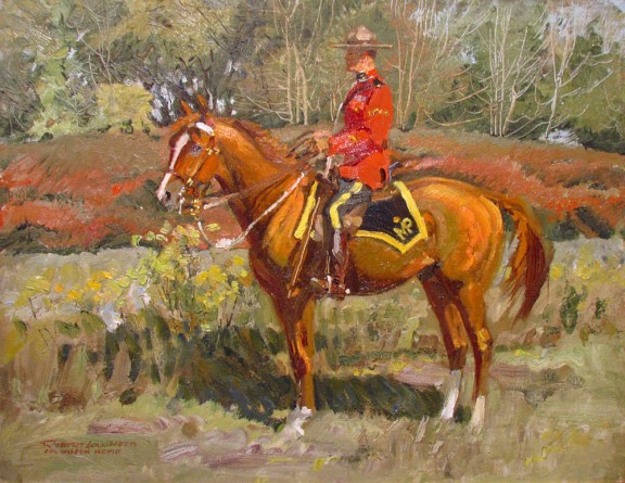 "Painting of RCMP Cpl. A. Wilson in red serge at ""N"" Division in 1945"