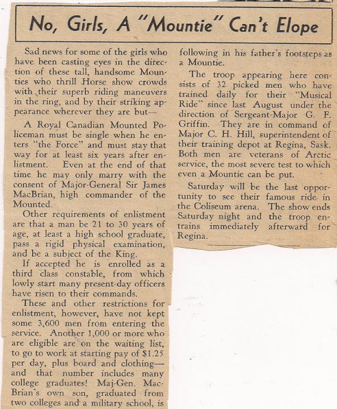 October 1936 - Copy of a Evening World Herald newspaper article about the RCMP Musical Ride members (Source Tim Griffin collection)
