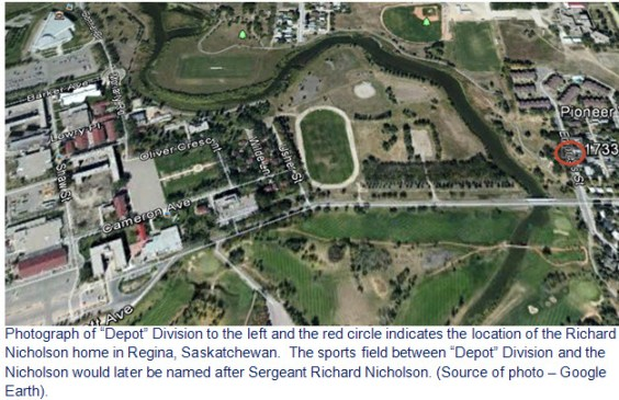"Google Earth image of RCMP ""Depot"" Division and the Nicholson home"