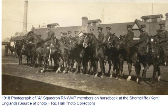 """Photograph of """"A"""" Squadron RNWMP members in England"""