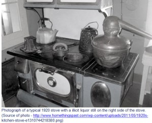 Photograph of 1920s wood stove with still