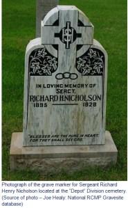 Photograph of RCMP Sergeant Richard Nicholson's grave marker