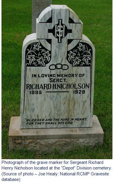 Photograph of RCMP Sergeant Richard Nicholson's grave marker
