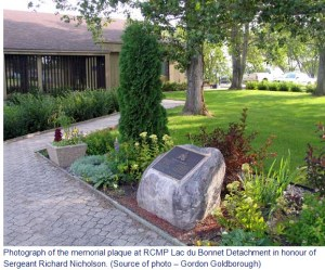 Photograph a memorial plaque in Manitoba for RCMP Sergeant Richard Nicholson