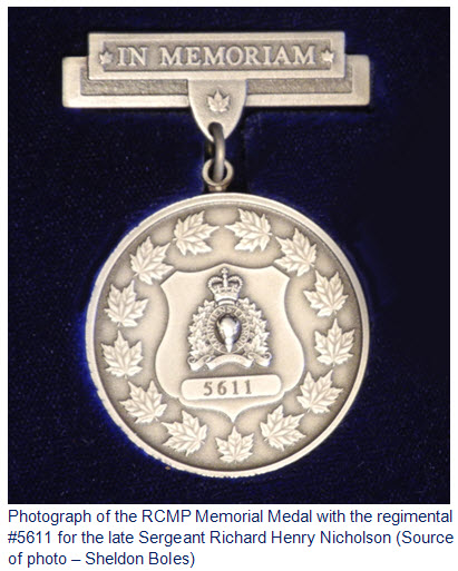 Photograph of the RCMP Memorial Medal