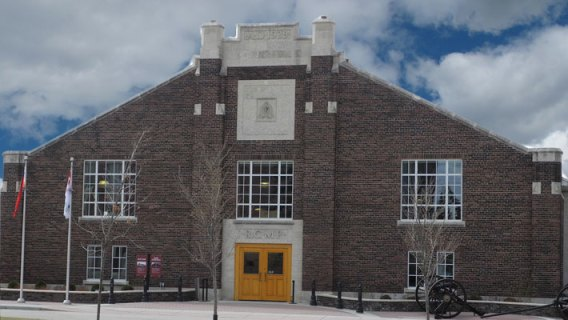 "Photograph of the RCMP ""Depot"" Division Drill Hall in Regina, Saskatchewan"