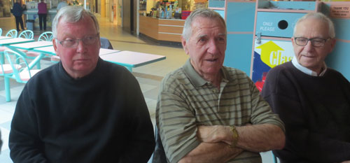 Photograph of three RCMP Veterans at the Southgate Mall Koffee Klatch