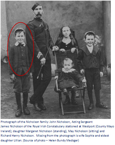 Photograph of a/Sgt. James Nicholson of the Royal Irish Constabulary with his family.