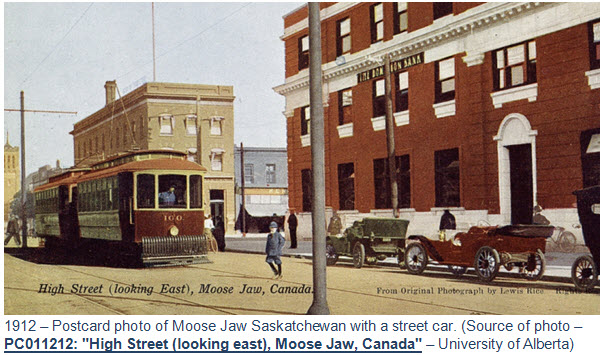1912 - Postcard of Moose Jaw Saskatchewan with a streetcar