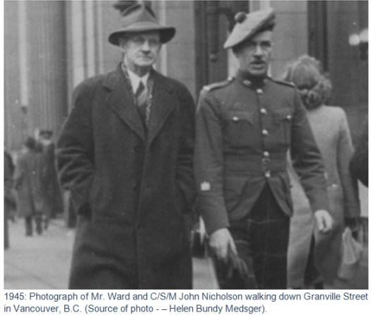 1945 - Photograph of John Nicholson in Vancouver, BC (Source of photo - Helen Bundy Medsger)